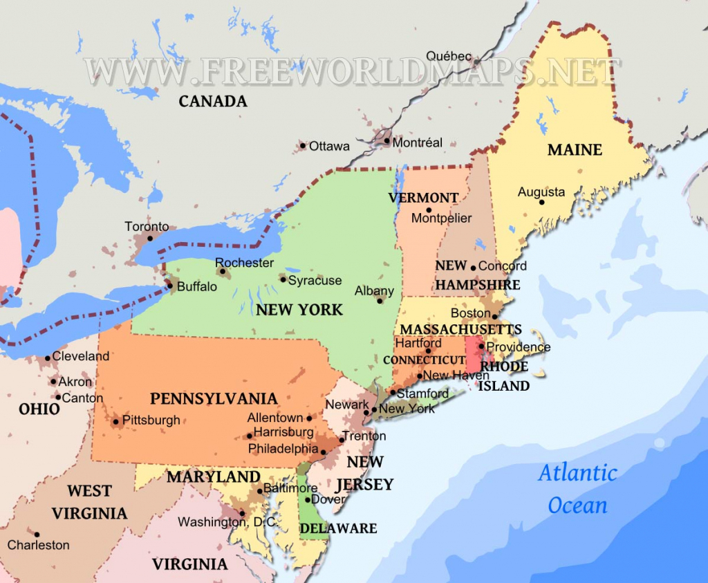 Northeastern Us Maps inside Printable Map Of North Eastern United States