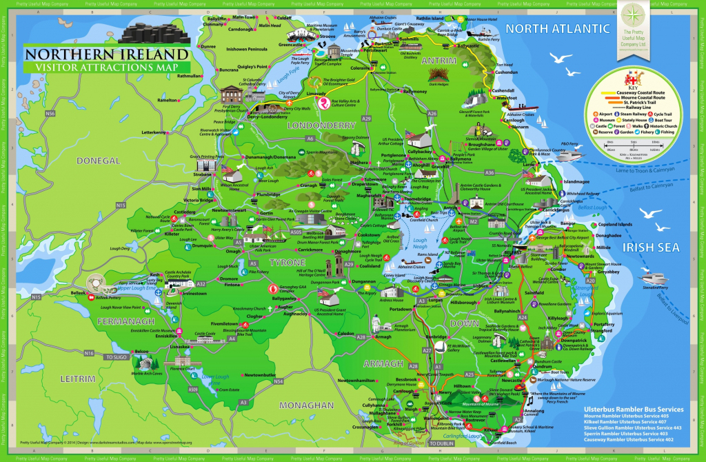 Northern Ireland Tourist Map intended for Printable Map Of Northern Ireland