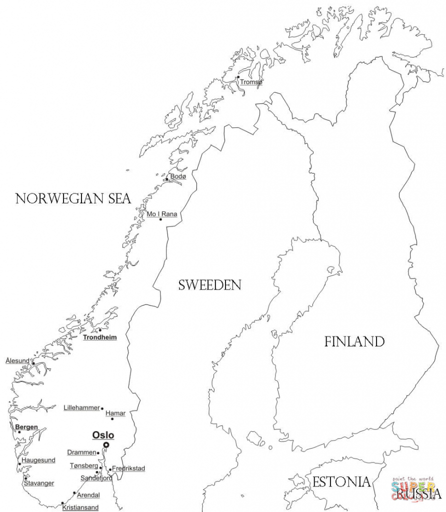 Norway Map With Cities Coloring Page | Free Printable Coloring Pages pertaining to Printable Map Of Norway