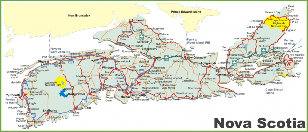 Nova Scotia Road Map pertaining to Printable Map Of Nova Scotia Canada