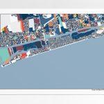 Ocean Isle Beach Nc Wall Art Map Print Poster Beach House Art | Etsy Intended For Printable Map Of Ocean Isle Beach Nc