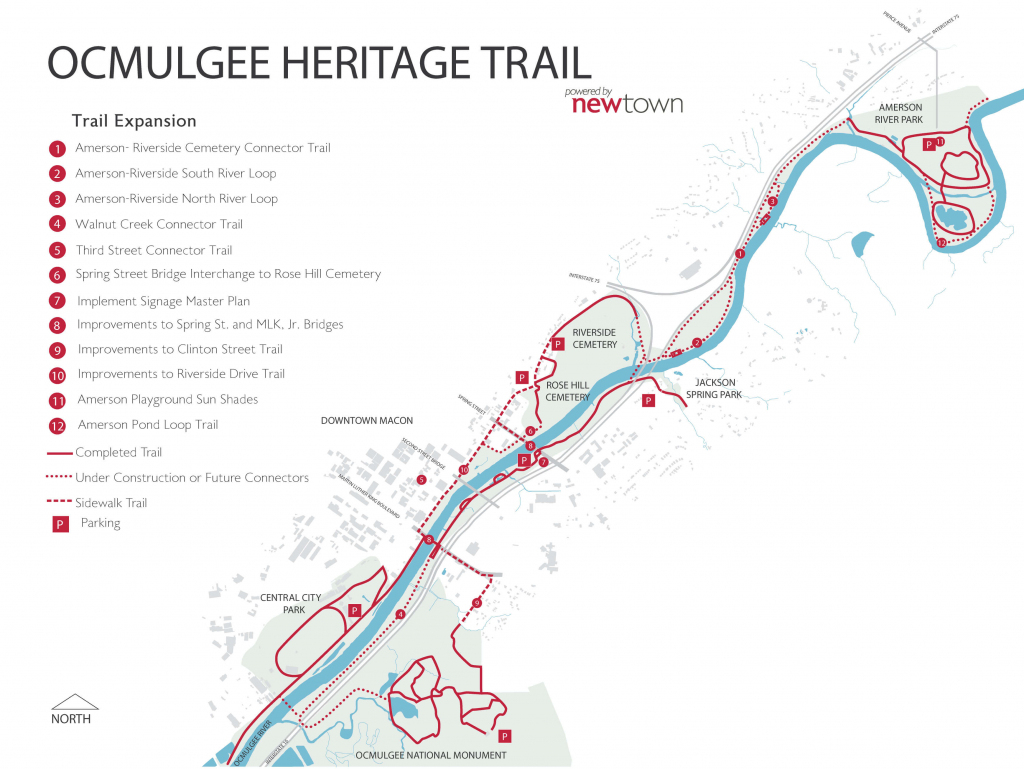 Ocmulgee Heritage Trail – Newtown Macon for Printable Map Of Macon Ga