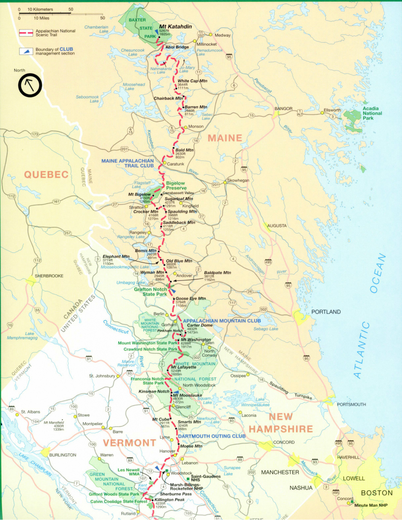 Official Appalachian Trail Maps throughout Printable Trail Maps