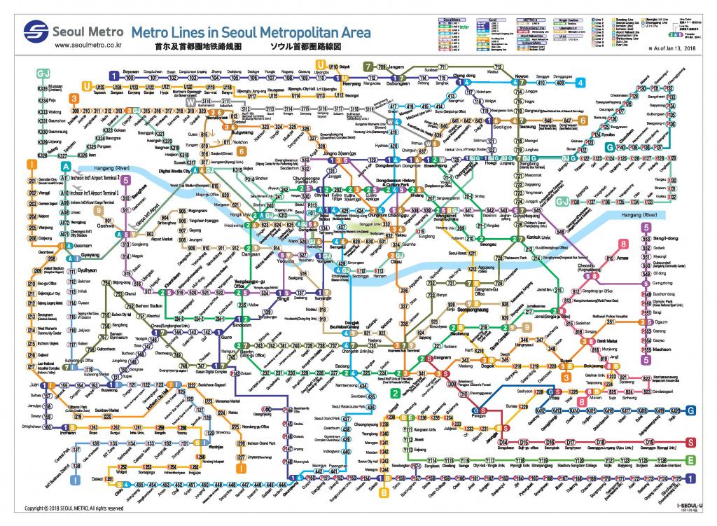 Official Site Of Korea Tourism Org.: Transportation : Seoul Subway Map regarding Printable Subway Map