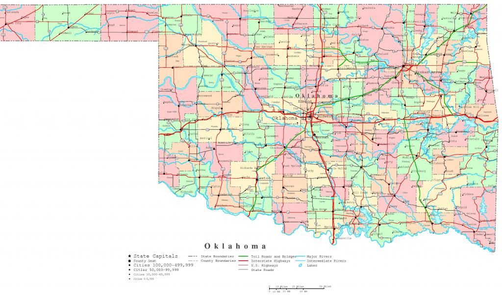 Oklahoma Printable Map with regard to Oklahoma State Map Printable