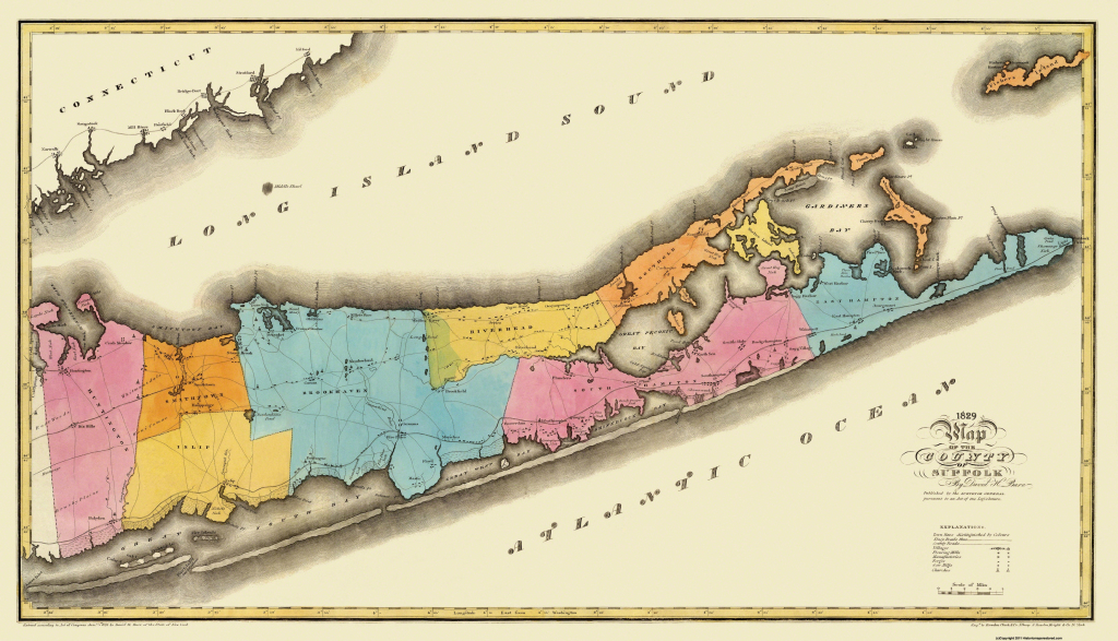 Old County Map - Suffolk New York - Burr 1829 with Printable Map Of Suffolk County Ny