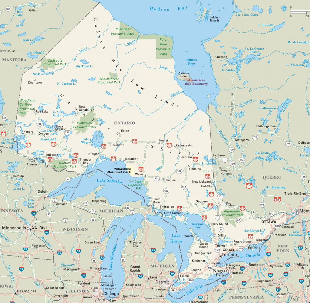 Ontario Highway Map with regard to Printable Map Of Ontario