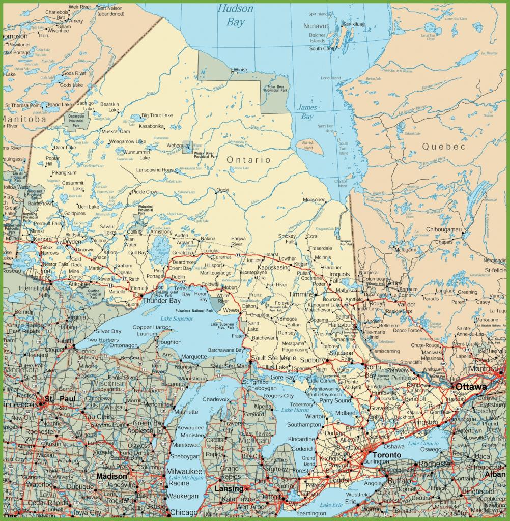 Ontario Road Map regarding Free Printable Map Of Ontario