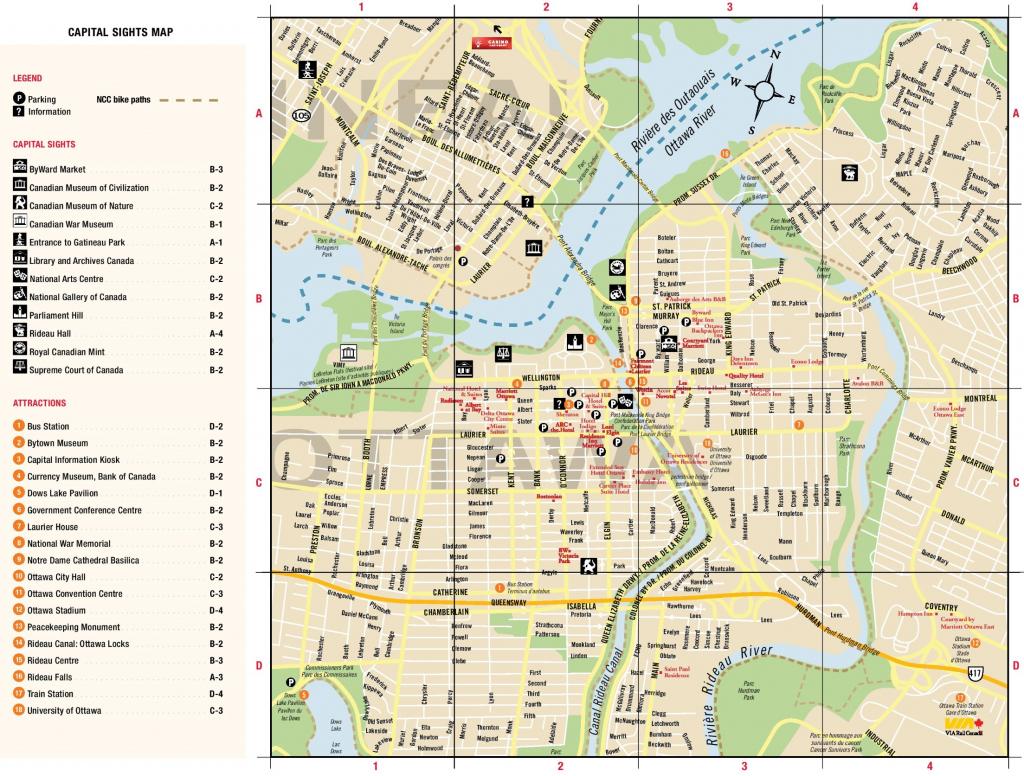 Ottawa Downtown Map inside Printable Map Of Ottawa