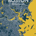 Ourposter 'boston City Map' Graphic Art Print Poster In Amuse Within Boston City Map Printable