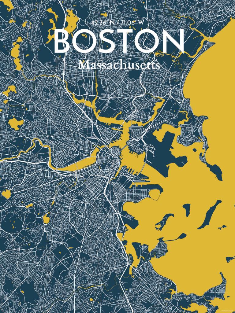 Ourposter 'boston City Map' Graphic Art Print Poster In Amuse within Boston City Map Printable