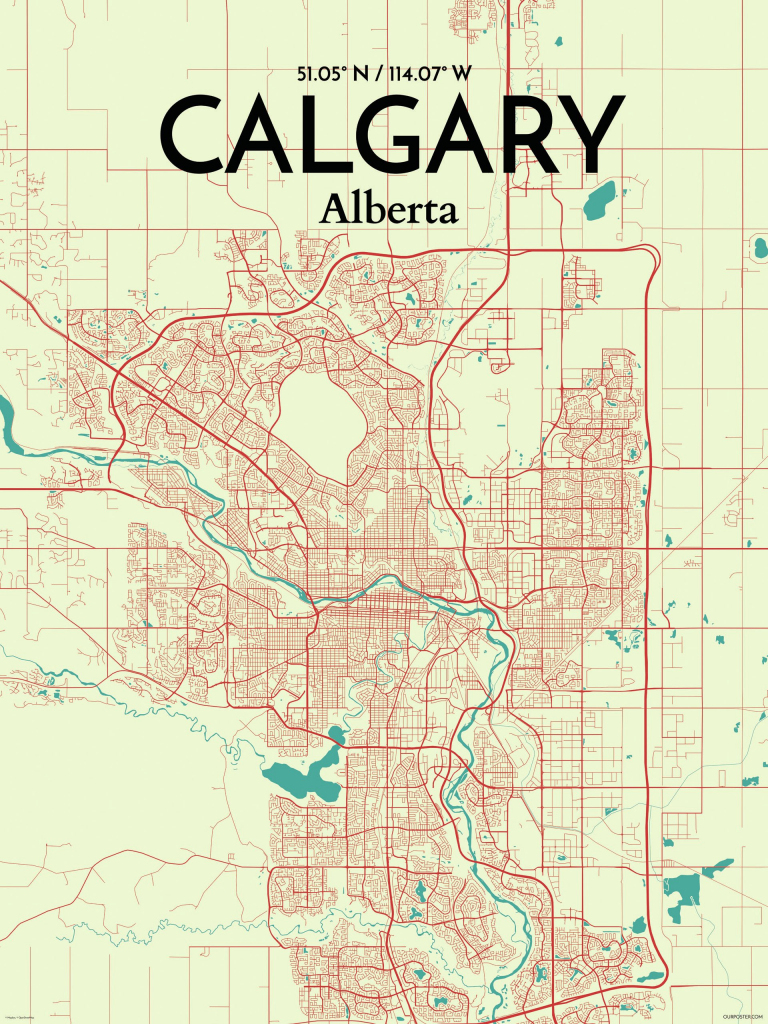 Ourposter 'calgary City Map' Graphic Art Print Poster In inside Printable Map Of Calgary