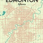 Ourposter 'edmonton City Map' Graphic Art Print Poster In Throughout Printable Map Of Edmonton