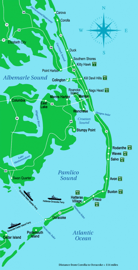 Outer Banks Map   Outer Banks, Nc regarding Printable Map Of Outer Banks Nc