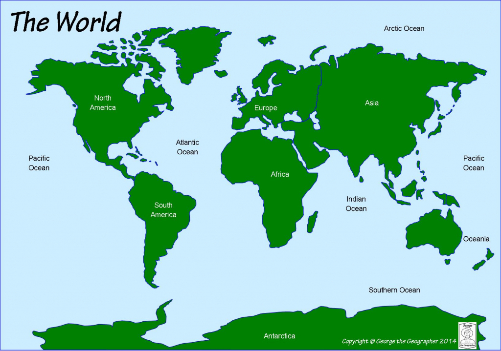 Outline Base Maps in Printable World Map With Continents And Oceans Labeled