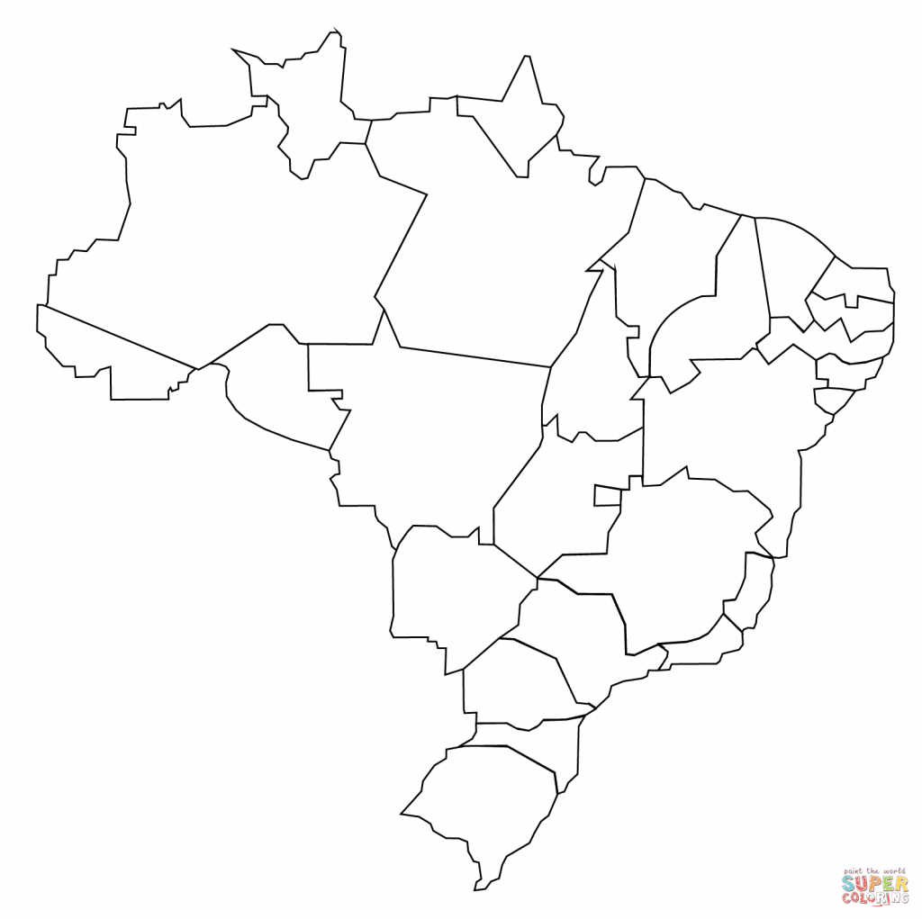 Outline Map Of Brazil With States Coloring Page | Free Printable for Free Printable Map Of Brazil