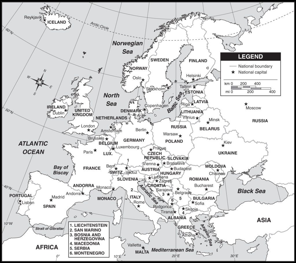 Outline Map Of Europe Countries And Capitals With Map Of Europe With inside Printable Map Of Europe With Capitals