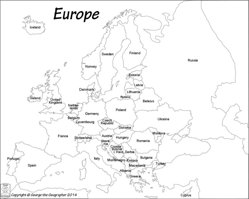 Outline Map Of Europe Political With Free Printable Maps And For regarding Printable Black And White Map Of Europe