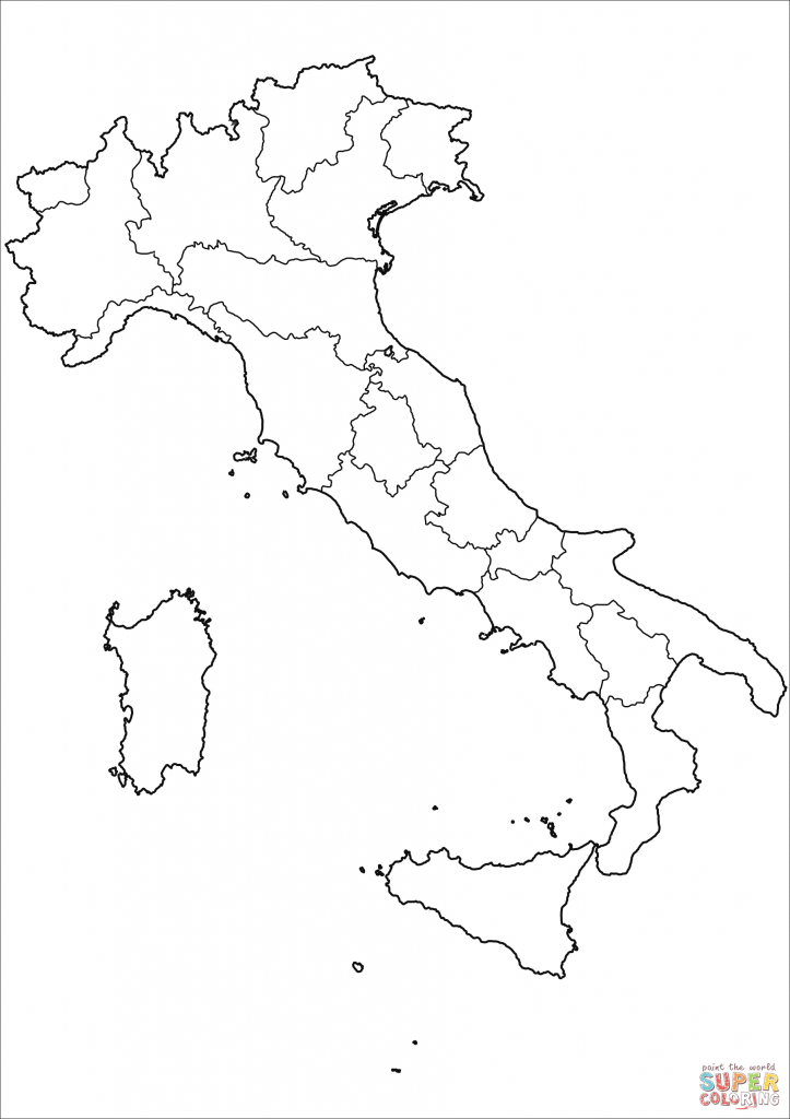 Outline Map Of Italy With Regions Coloring Page | Free Printable with Printable Blank Map Of Italy
