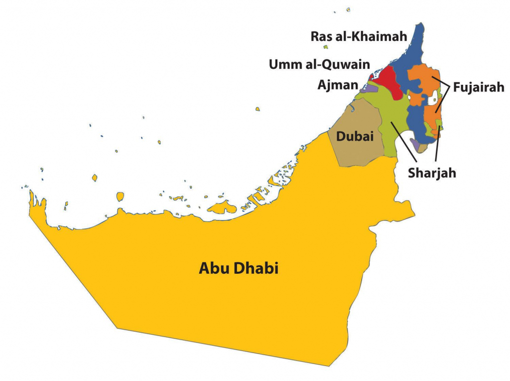 Outline Map Of Uae With 7 Emirates - Google Search | General inside Outline Map Of Uae Printable