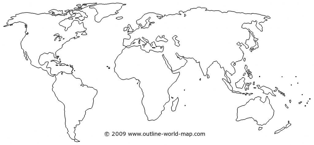 Outline World Map With Medium Borders White Continents And Oceans throughout World Map Continents Outline Printable