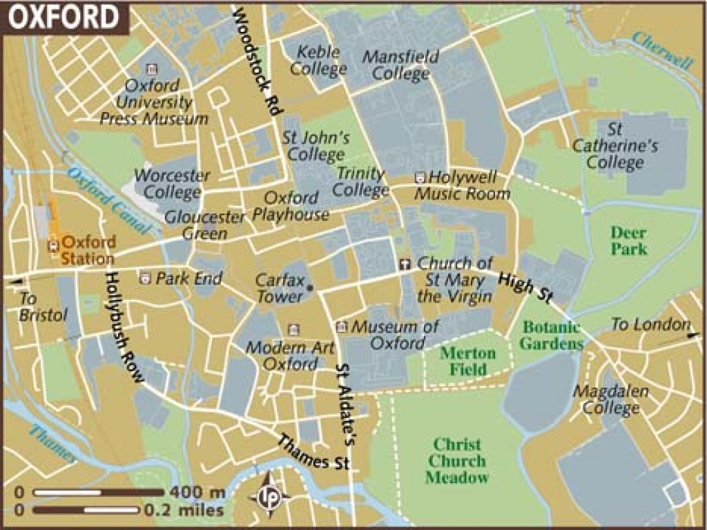Oxford Maps - Top Tourist Attractions - Free, Printable City Street Map for Printable City Street Maps