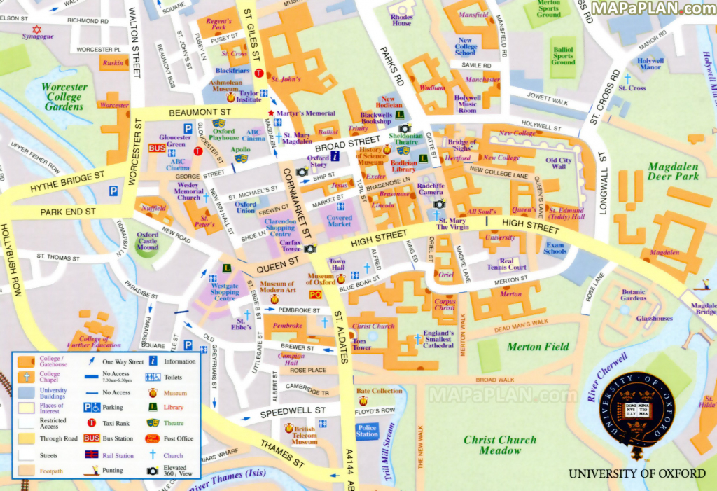 Oxford Maps - Top Tourist Attractions - Free, Printable City Street Map intended for Oxford Tourist Map Printable