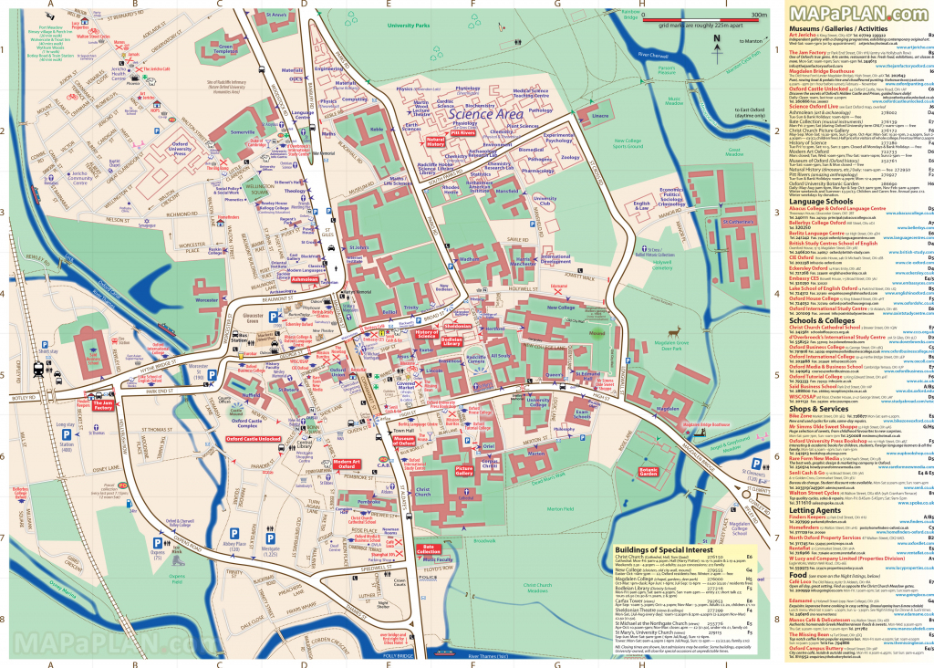 Oxford Maps - Top Tourist Attractions - Free, Printable City Street Map regarding Printable Map Of Oxford
