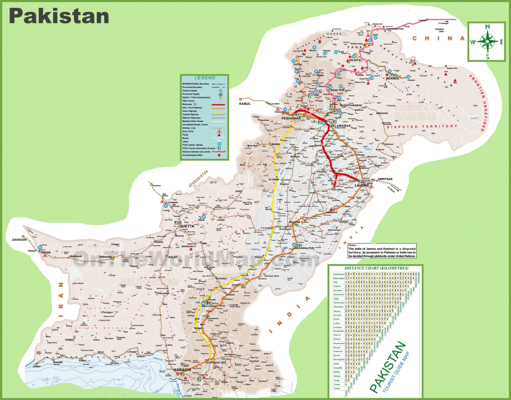 Pakistan Tourist Map intended for Printable Map Of Pakistan