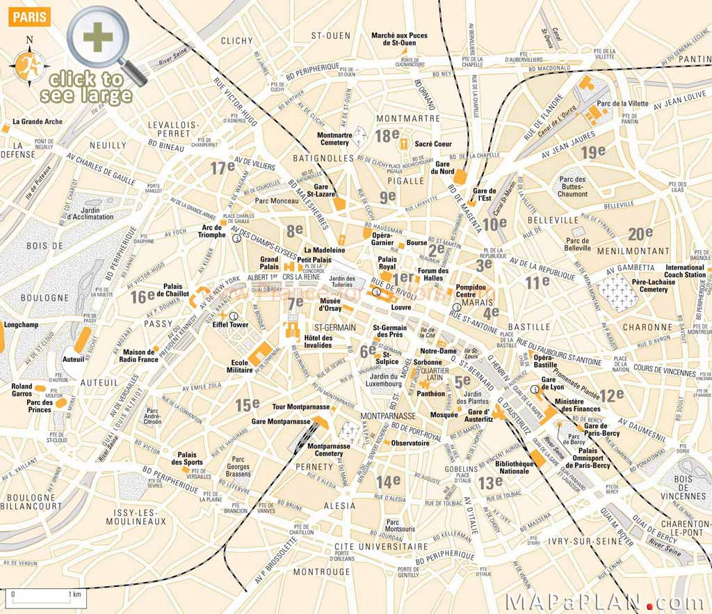 Paris Maps - Top Tourist Attractions - Free, Printable - Mapaplan regarding Paris Tourist Map Printable