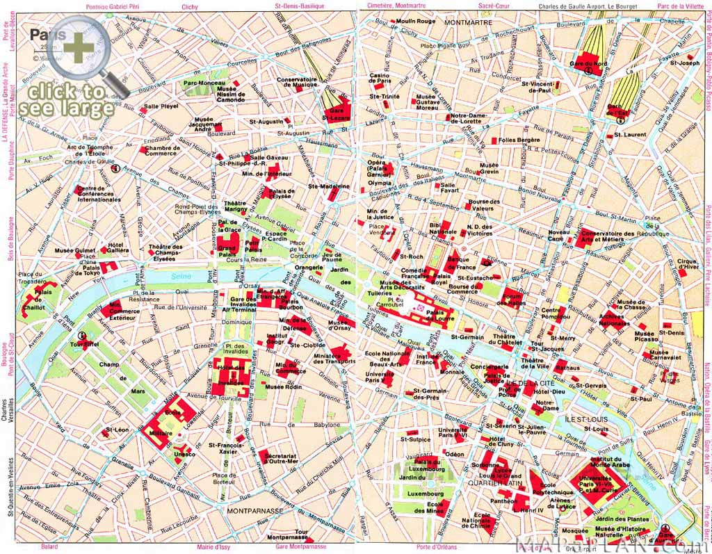 Paris Maps - Top Tourist Attractions - Free, Printable - Mapaplan with Printable Map Of Paris