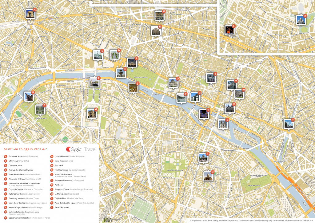 Paris Printable Tourist Map | Sygic Travel in Street Map Of Paris France Printable