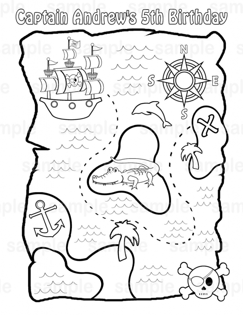 Personalized Printable Pirate Treasure Map Birthday Party Favor in Printable Treasure Map