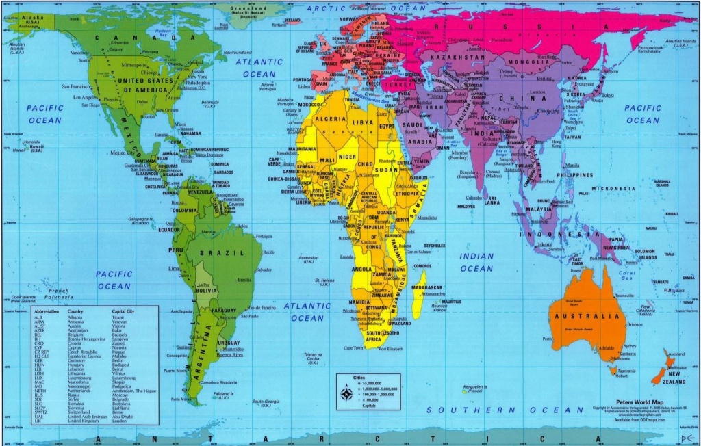 Peters Projection World Map Printable | Your Map Of The World Is for World Map With Scale Printable