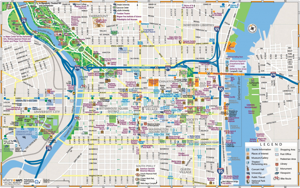 Philadelphia Downtown Map - Philadelphia Street Map Printable for Philadelphia Street Map Printable