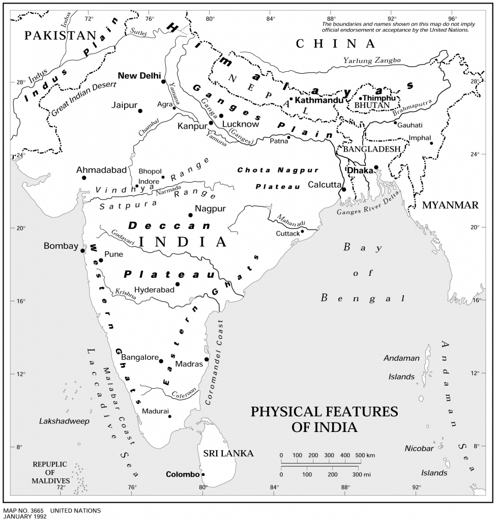 Physical Features Of India Map - Maps Of India throughout Physical Map Of India Printable