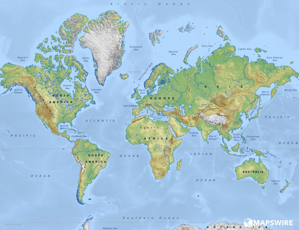 Physical Map Of World | World Physical Map Printable for World Physical Map Printable
