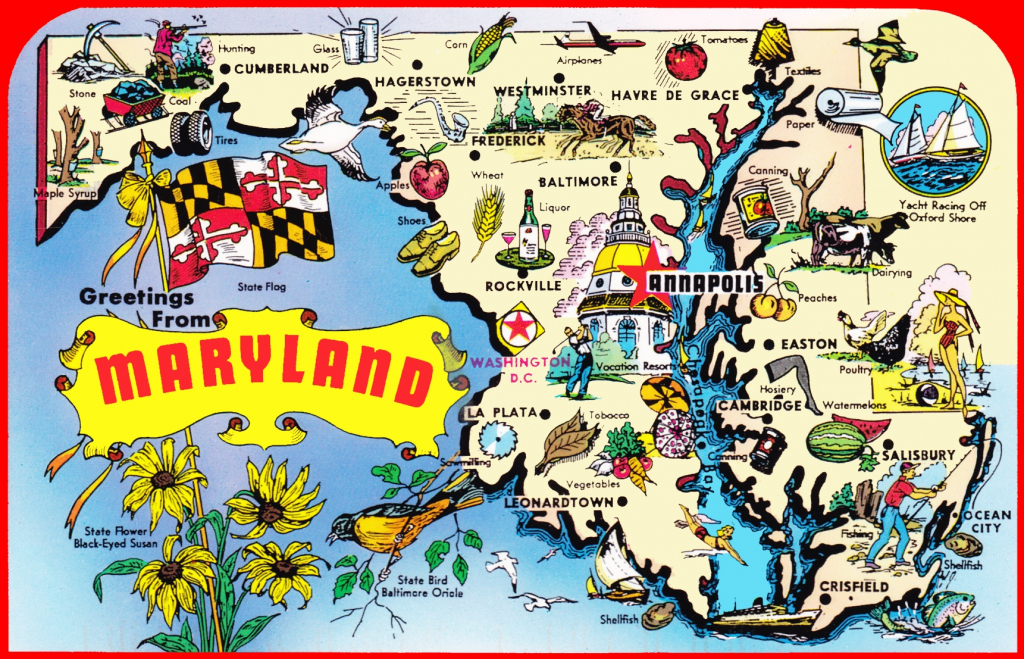 Pictorial Travel Map Of Maryland with regard to Printable Map Of Maryland
