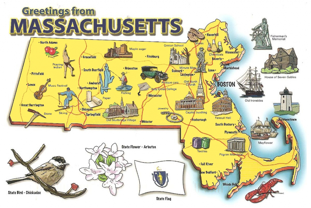 Pictorial Travel Map Of Massachusetts with Printable Map Of Massachusetts