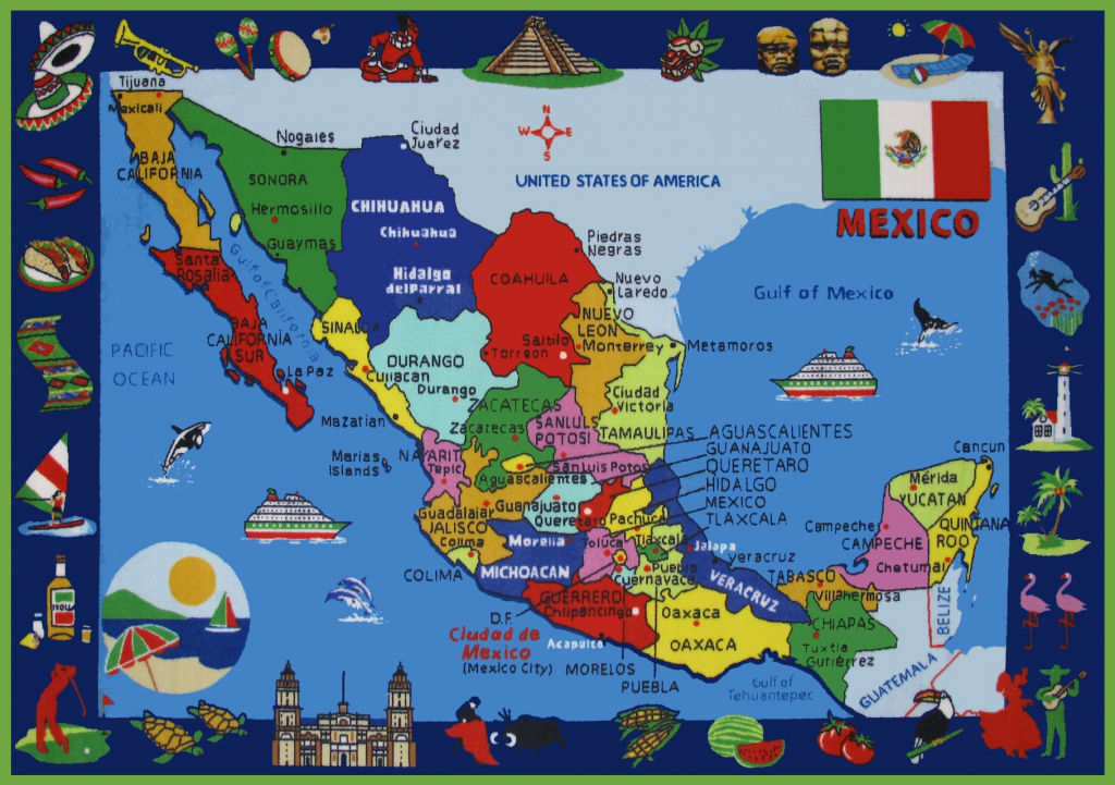 Pictorial Travel Map Of Mexico throughout Printable Map Of Mexico