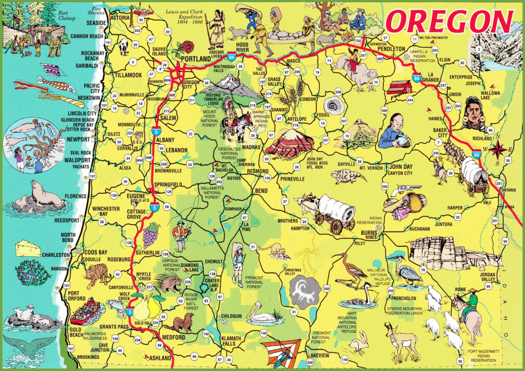 Pictorial Travel Map Of Oregon regarding Printable Map Of Oregon