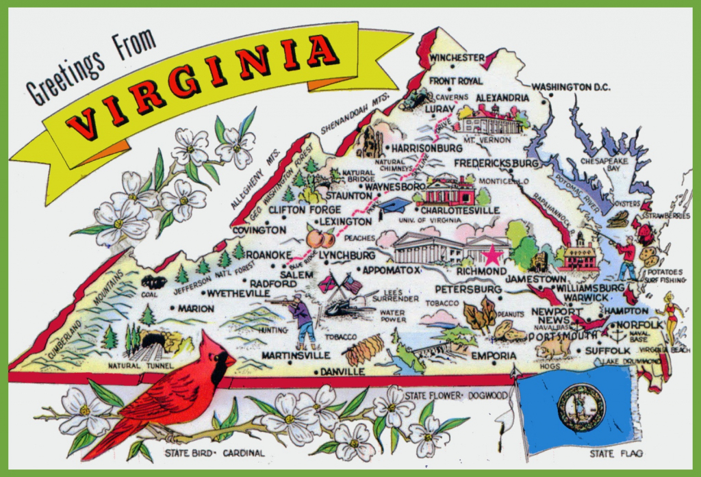 Pictorial Travel Map Of Virginia in Printable Map Of Virginia