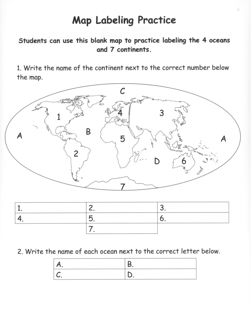 Pinecko Ellen Stein On Learning Goodies | Continents, Oceans inside Free Printable Map Of Continents And Oceans