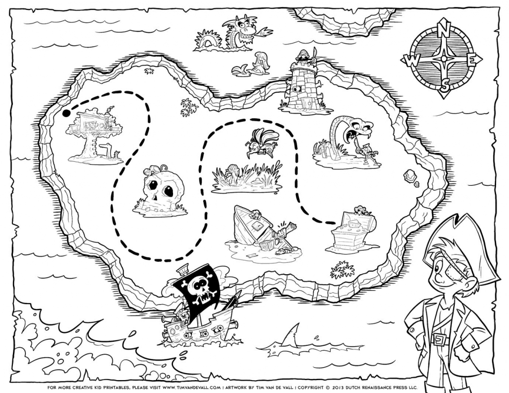 Pirate Treasure Map Coloring Pages Free Printable Earth Black And within Printable Treasure Map