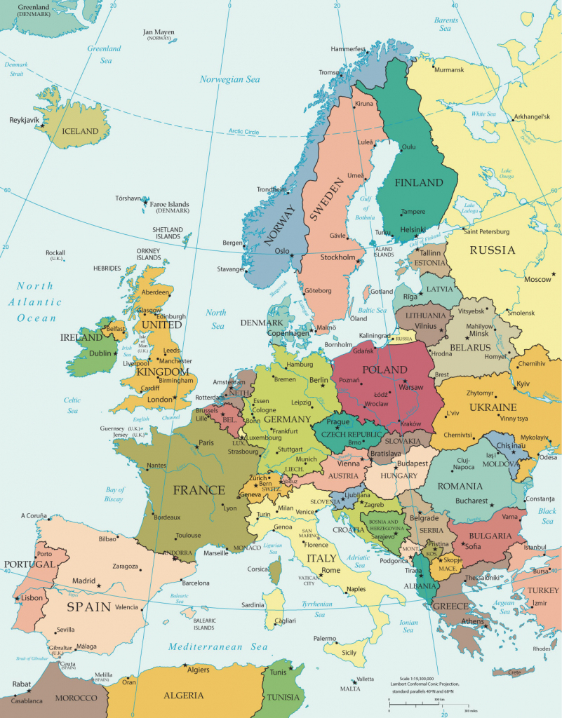 Political Map Of Europe - Countries throughout Printable Map Of Europe With Countries And Capitals