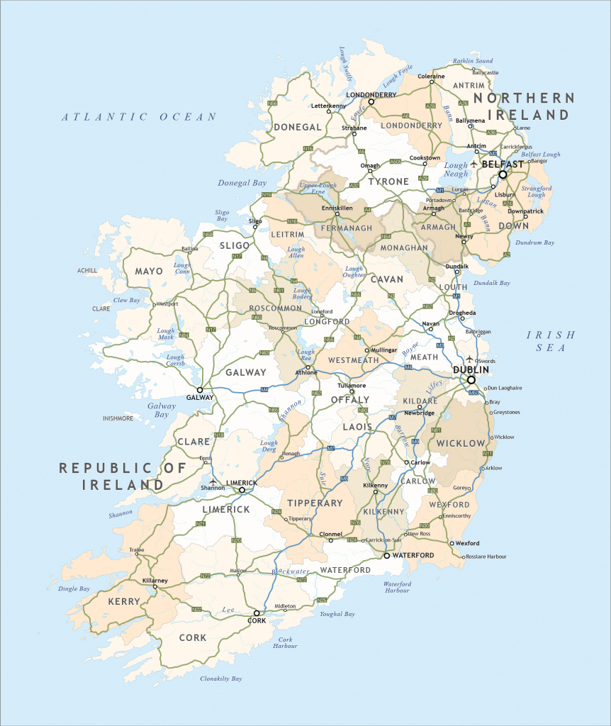 Political Map Of Ireland - Royalty Free Editable Vector - Maproom intended for Printable Map Of Ireland