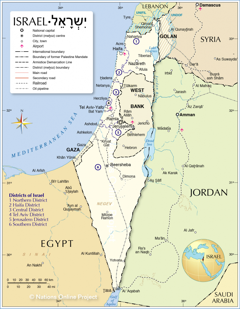 Political Map Of Israel - Nations Online Project with regard to Printable Map Of Israel Today