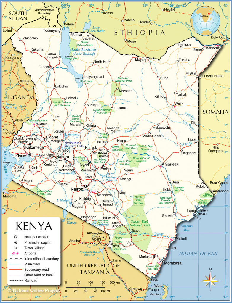 Political Map Of Kenya - Nations Online Project pertaining to Printable Map Of Kenya