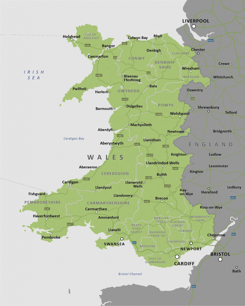 Political Map Of Wales - Royalty Free Editable Vector Map - Maproom throughout Printable Map Of Wales