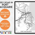 Port Macquarie Map Print Printable Port Macquarie Map Art | Etsy Inside Printable Street Map Of Port Macquarie